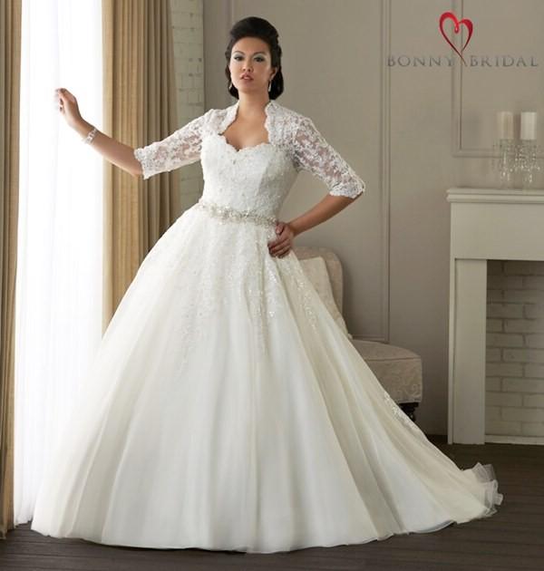 2835b709330753 Как выбрать свадебное платье полной невесте с учетом типа фигуры ...