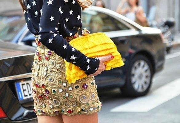 Джинсовая юбка с камнями