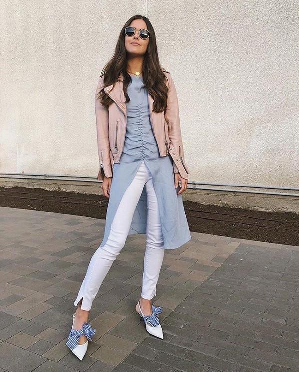 Образ с белыми джинсами